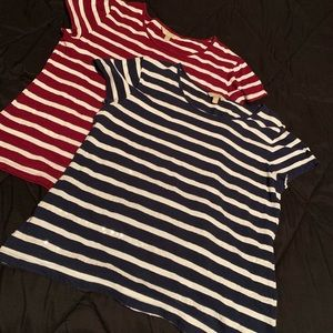 Two XL sequin-striped tshirts by Banana Republic